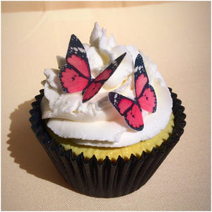 Butterflies edible wafer cupcake topper pink