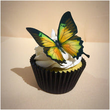Butterfly cake topper edible wafer yellow