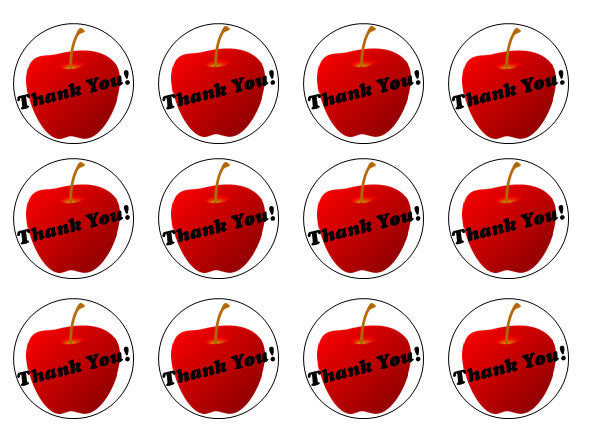 Thank You Teacher Cupcake Toppers | Edible Apple Cake Toppers