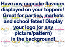 Cupcake flavour edible toppers for bake sale