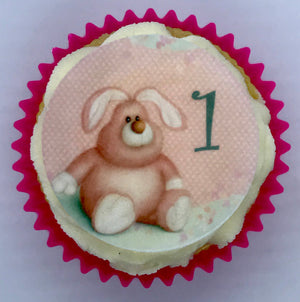 Girls 1st Birthday Cupcake Toppers