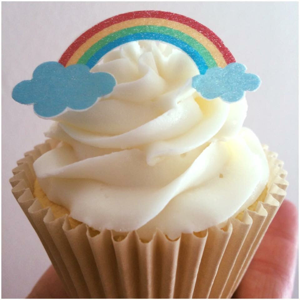 rainbow cupcake toppers printed on to edible wafer paper