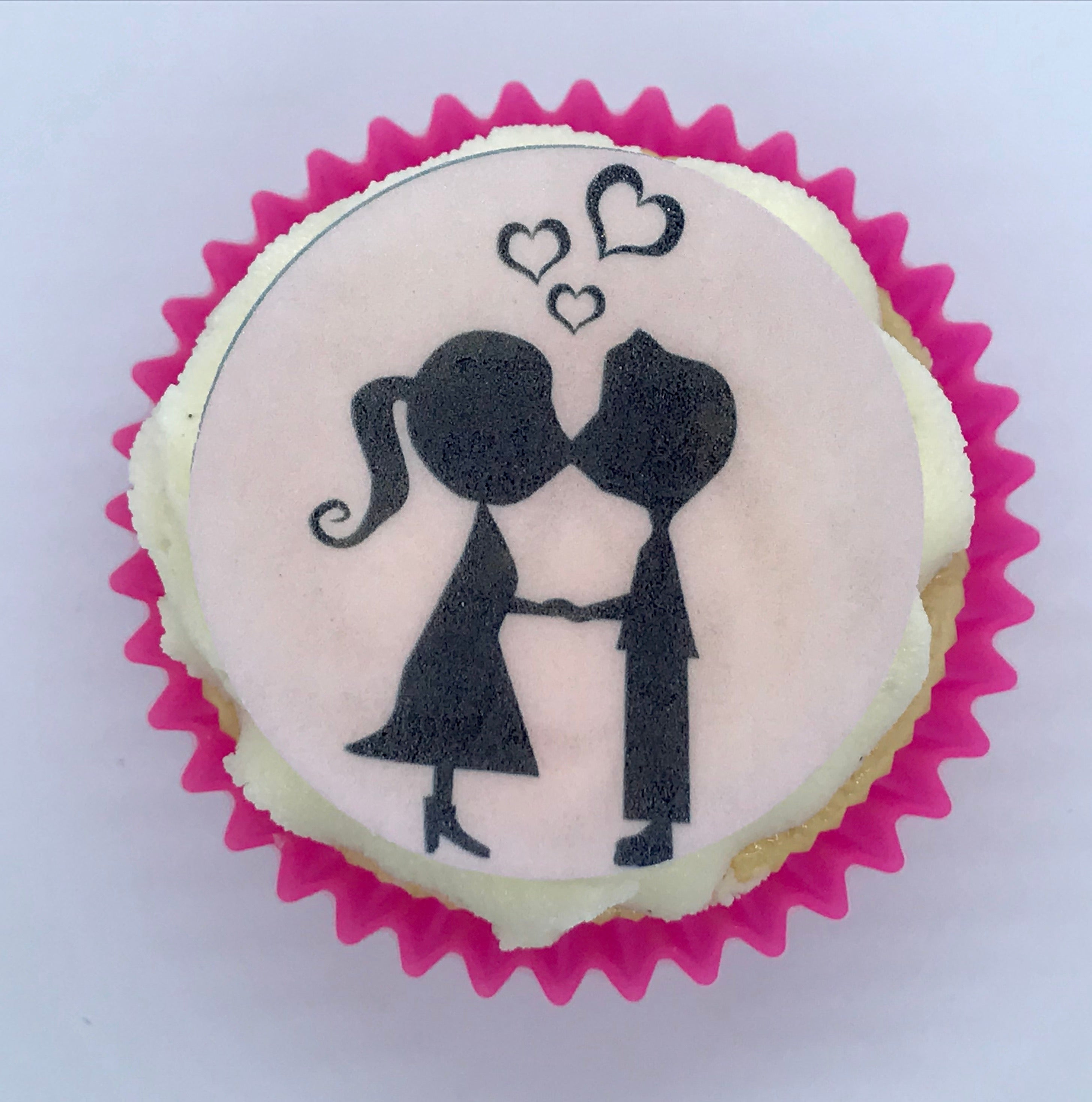 Kissing Couple Cake & Cupcake Toppers