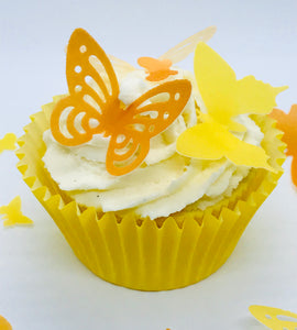 Orange Pre Cut Wafer Butterflies