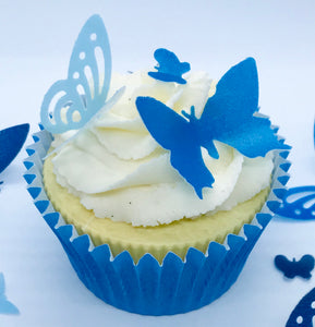 Blue Pre Cut Wafer Butterflies