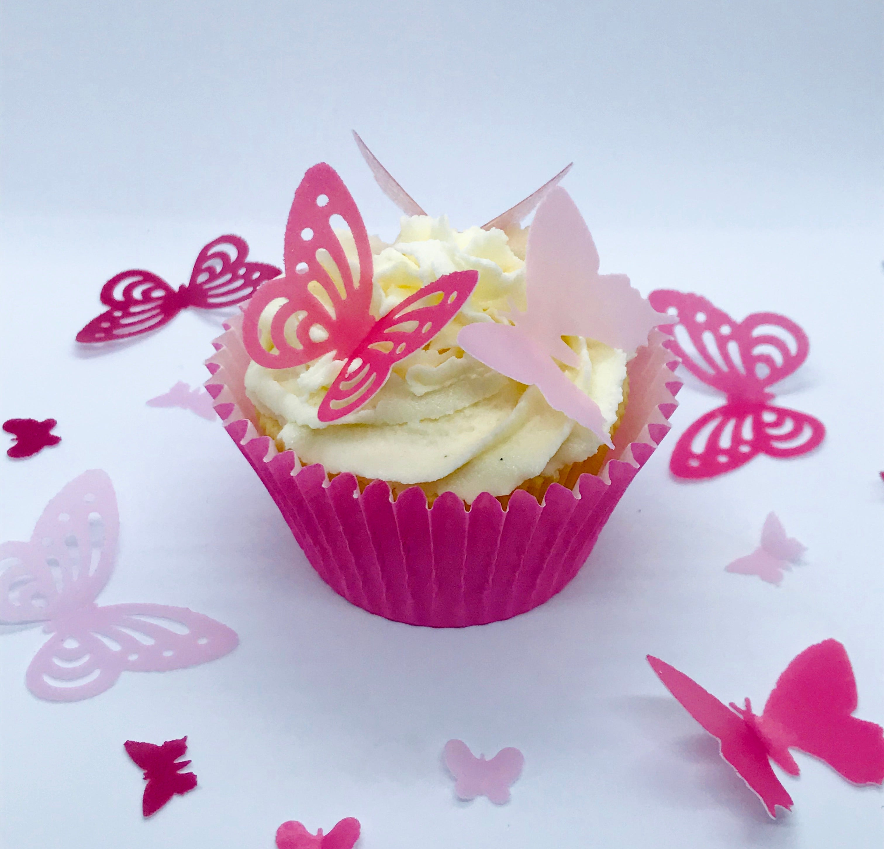 Pink Pre Cut Wafer Butterflies
