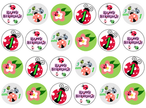 Ladybirds & Flowers Cupcake Toppers