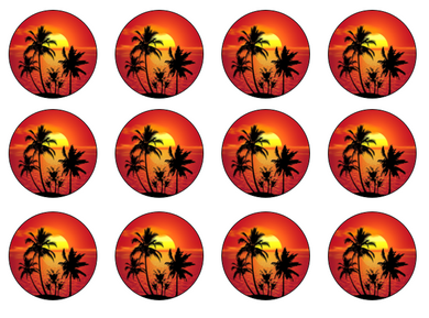 Tropical Cake Topper UK | Edible Cupcake Toppers | Set of 12