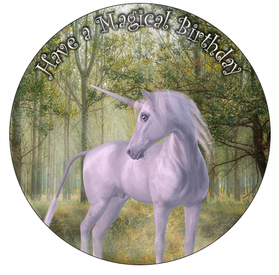 large circular cake topper with unicorn