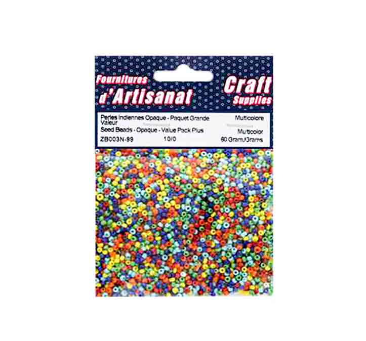 Perles indiennes (10/0), opaques multicolores