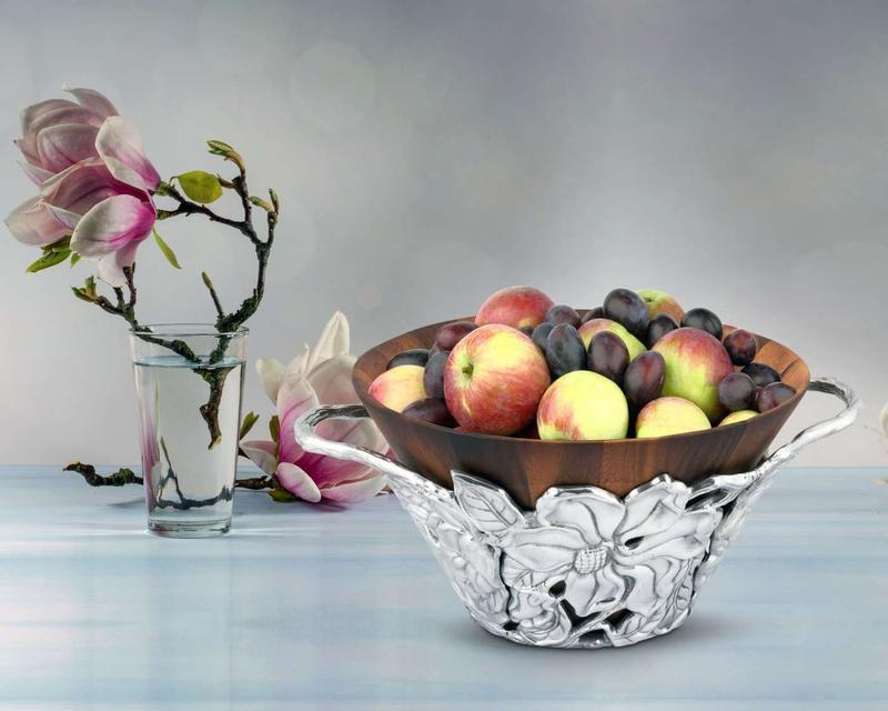 Magnolia Wood Tall Salad Bowl from Arthur Court Designs