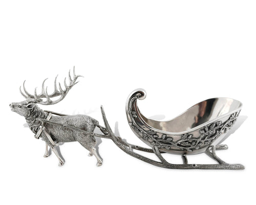 Vagabond House Pewter Reindeer Sleigh Centerpiece - Holiday Collection