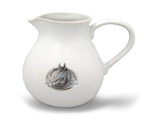 Equestrian Horseshoe Stoneware Pitcher - Vagabond Equestrian Collection