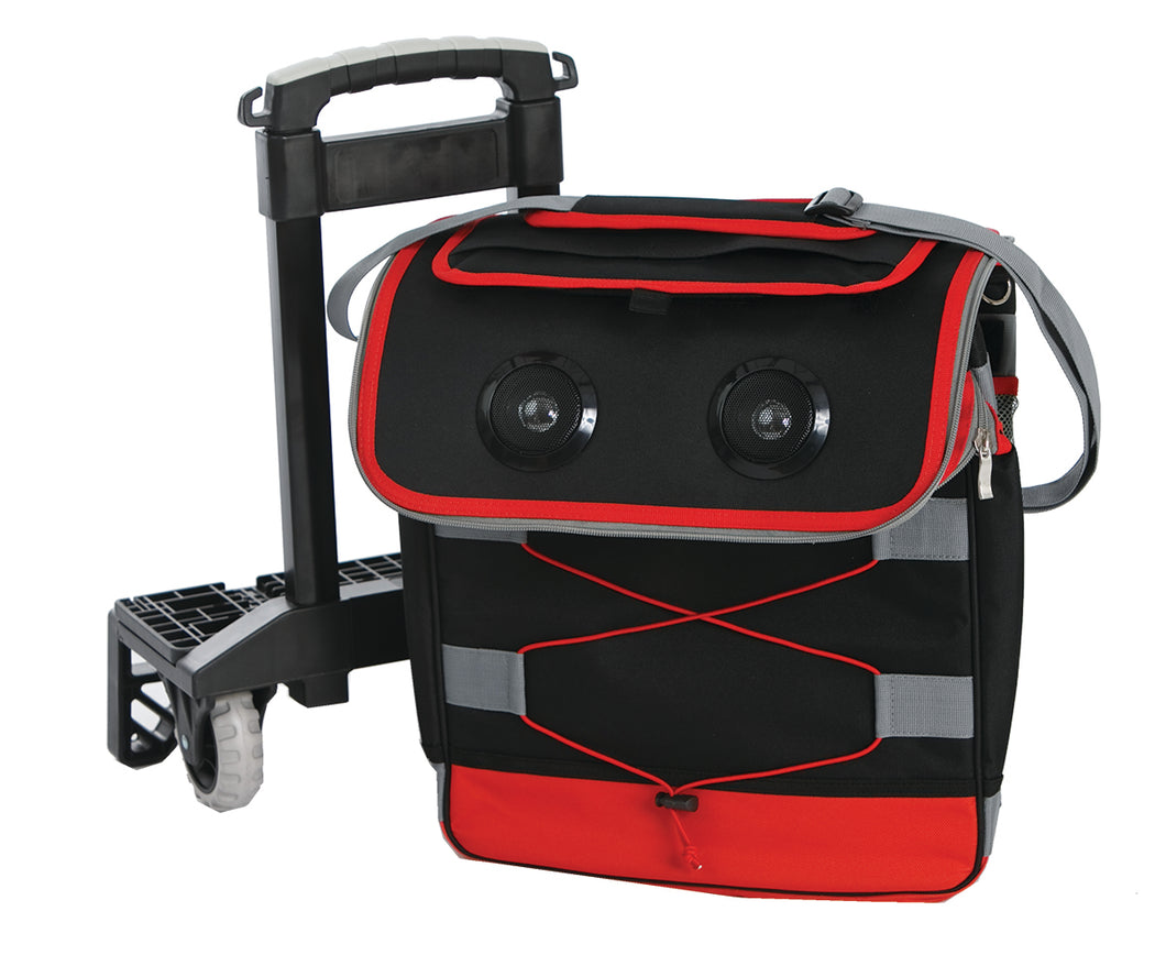 Red and Black Rolling Cooler with Bluetooth Speakers from our Picnic Plus line