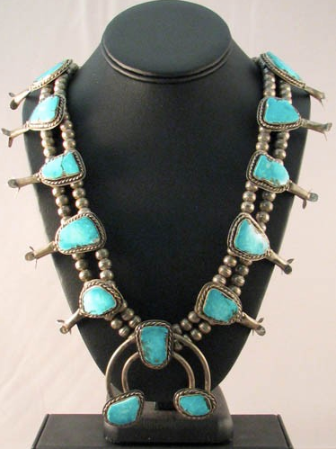 Navajo Made Smokey Bisbee Squash Blossom Necklace - Native American Jewelry