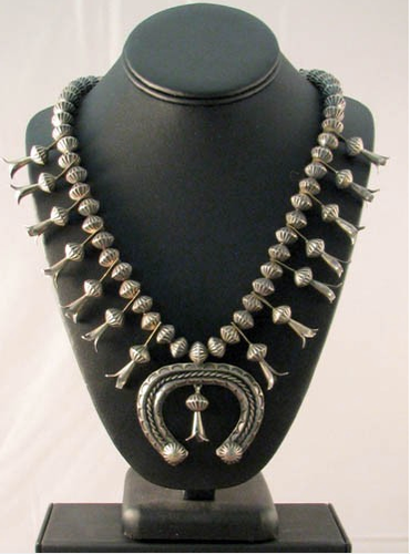 1920s-1940s Native American Navajo Made Squash Blossom Necklace with Naja - Native American Jewelry
