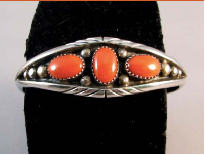 1970s Native American Navajo Coral Cuff Bracelet - Native American Jewelry
