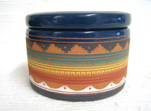 Native American Navajo Red Clay Large Round Jewelry Box with End of the Trail - Native American Pottery