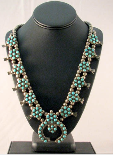 1900-1920s Native American Zuni Made Squash Blossom Necklace - Native American Jewelry