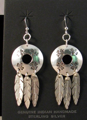 Native American Algonquin Made Earrings with Dragonflies - Native American Jewelry