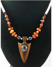 Native American Hopi Made Pinon and Bead Necklace with Cottonwood Carved Arrowhead - Native American Jewelry
