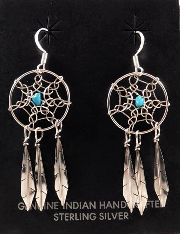 Native American Navajo Made Dreamcatcher Earrings with Turquoise or Coral Stone - Native American Jewelry