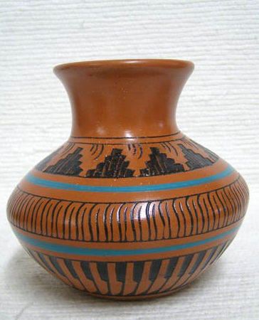 Native American Navajo Red Clay Pot - Native American Pottery