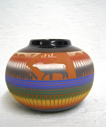 Native American Navajo Red Clay Pot with Elk - Native American Pottery