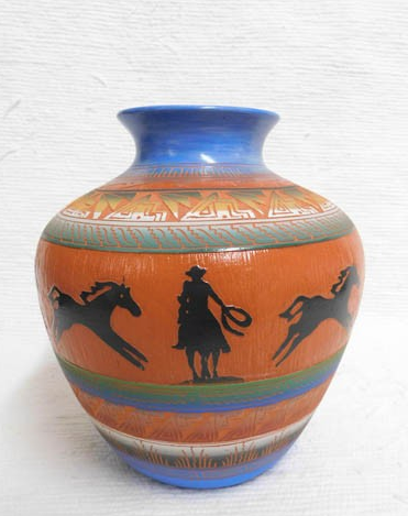 Native American Navajo Red Clay Pot--Apple with Wrangler and Horses Native American Pottery