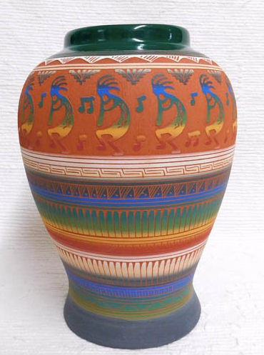 Native American Navajo Red Clay Pot with Kokopelli - Native American Pottery
