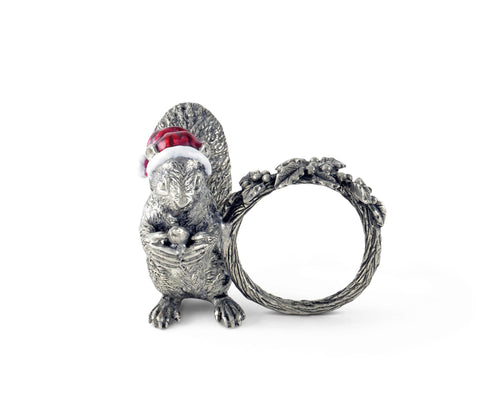 Vagabond House Santa Squirrel Napkin Ring - Holiday Collection