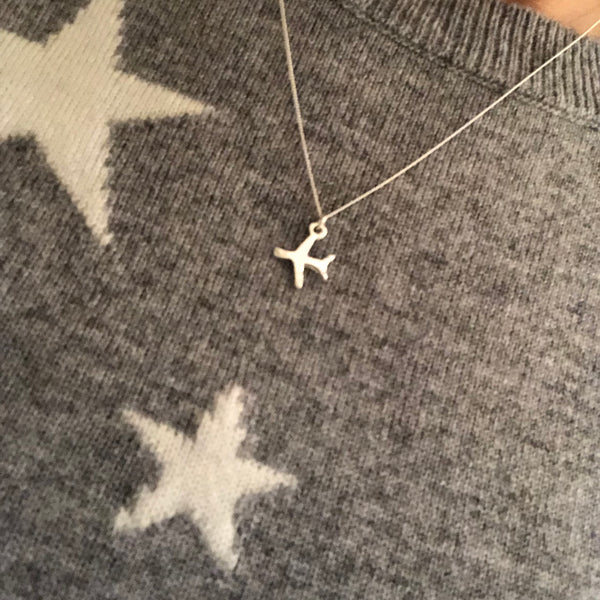 Stirling silver airplane necklace