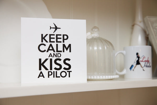 """Kiss A Pilot"" Greeting Card"