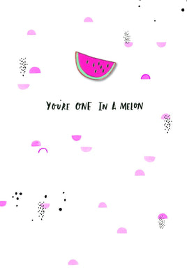 Melon enamel pin greetings card from Hotchpotch