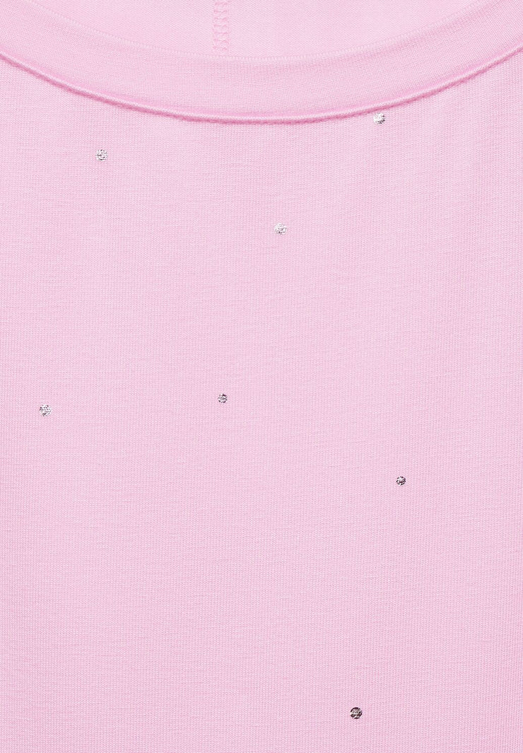 Street One - Rosa t-shirt med folieprint