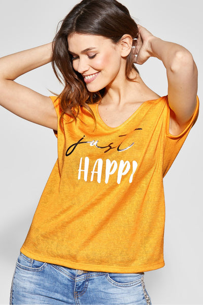 Street One - Gul T-shirt Just Happy