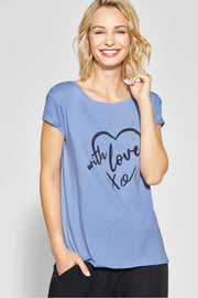 Street One - Blå T-shirt with love xo