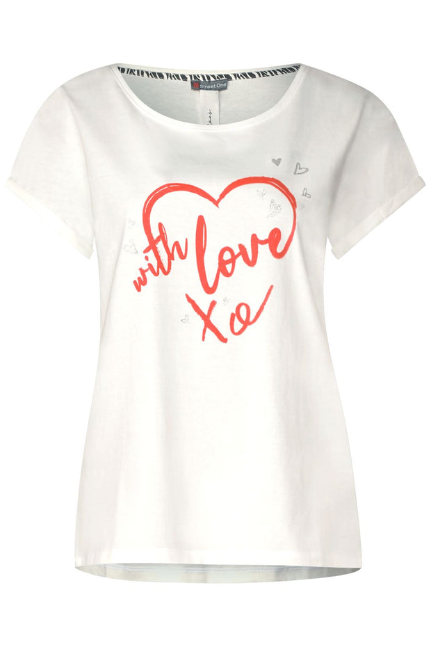 Street One - Vit T-shirt with love xo