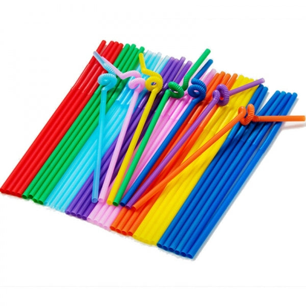100pcs Plastic Black Flexible Drink Straw Party Birthday Wedding Drinking Bendy Colorful