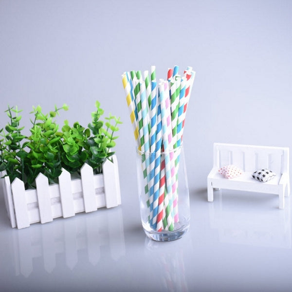 25pcs Colorful Paper Biodegradable Drinking Straw Stripe