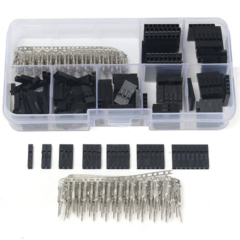310pcs 2.54mm Male Female Dupont Wire Jumper with Header Connector Housing Kit Black & Silver