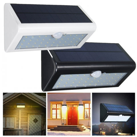 38-LED Solar Power PIR Motion Sensor Light Black - White Light