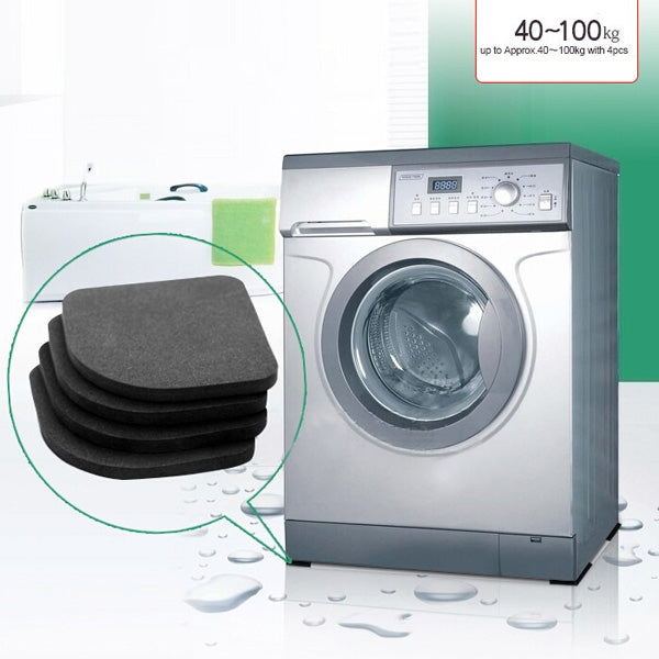 4pcs Washing Machine Anti-shock Pads Silence Cotton Non-slip Mats Kit Black