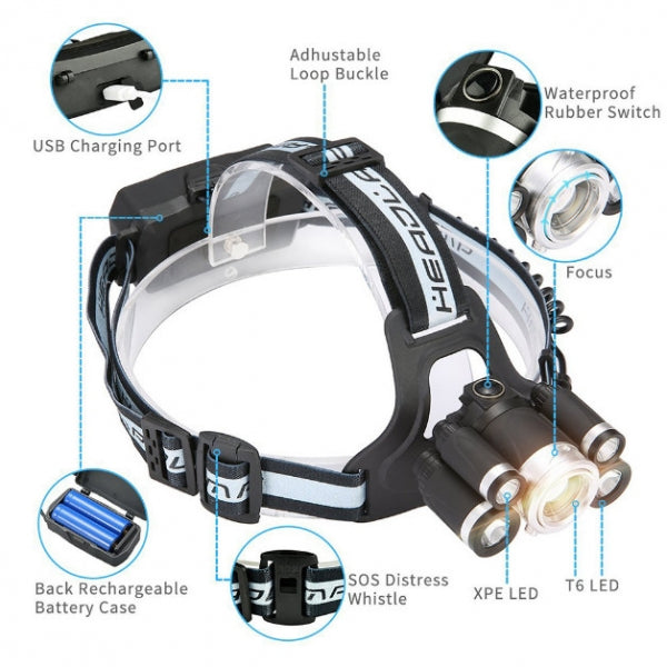 1*T6+T6*2+XPE*2 LED 5 Modes Headlamp USB Charging Waterproof Headlight