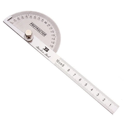 90 x 150mm BOSI BS181809 Round Head Stainless Steel Protractor Silver