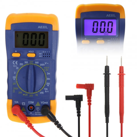 A830L LCD Digital Multimeter DC AC Voltage Tester Blue & Yellow