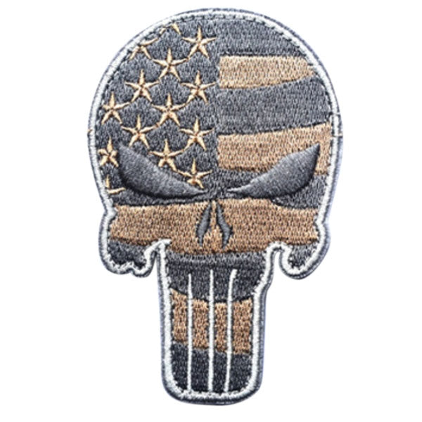 AOTDDOR Skull Punisher 3D Embroidery Morale Hunting Military Tactical Paintball Clothes Uniform Backpack Velcro Badge Coffee Vertical Stripes