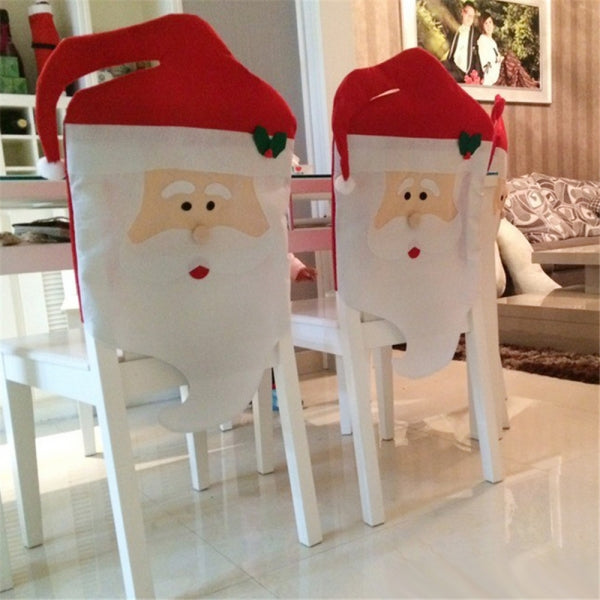 Chair Cover Mr Santa Claus Pattern Dining Room Home Party Decor Red