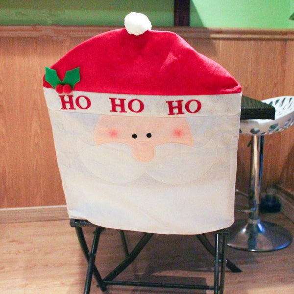 60x50cm Christmas Decoration Red Hat Santa Claus Pattern Dining Chair Cover