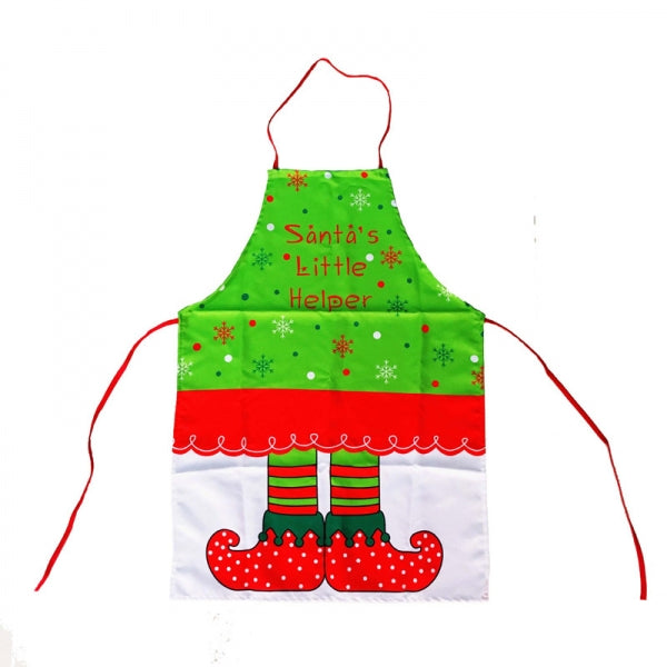 Snowflake Elf Boot Pattern Apron Kitchen Cooking Tool Green & Red